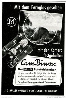 Original-Werbung/ Anzeige 1958 - - MÖLLER CAM BINOX FOTO-FELDSTECHER - WEDEL - ca. 60 x 90 mm