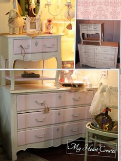Girls Stanley dresser and night table painted in ASCP Pure White and Antoinette with clear wax.