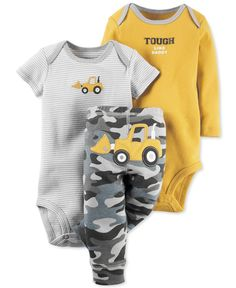 Dress your tough little man for playtime in this adorable three-piece Carter's set, which features two bodysuits and a pair of camo-print pull-on pants. | Cotton | Machine washable | Imported | Short-