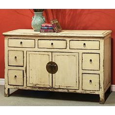 China Furniture Online Elmwood Cabinet, Hand Painted Floral Motif Tibetan  Style High Chest Distressed Yellow And Red | Vintage China Cabinet |  Pinterest ...