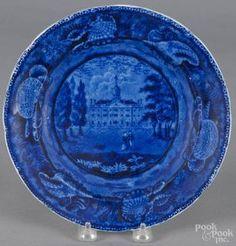 Historical blue Staffordshire Transylvania University Lexington plate, 19th c., 9'' dia.