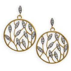 Leaf Design Gold Plated Brass and CZ Drop Earrings ($51) ❤ liked on Polyvore featuring jewelry, earrings, post earrings, cz jewellery, cubic zirconia drop earrings, 14k gold plated earrings and 14k earrings