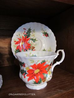 """Royal Albert """"Yuletide"""" tea cup and saucer.  I have this teacup and saucer!!! Love it."""