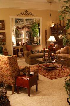 Beautiful den.living room interior design ideas and home decor. Corner desk angled.