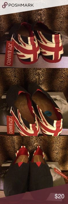 Joy & Mario British Flag Ballet Flats Sz 10 W New Joy & Mario Ballet Flats. English Flag design. Color: Red Blue and White. Size: 10 W. New with tag. Email with questions. Thank you for stopping by Denver Boutique. Happy shopping. Joy & Mario Shoes Flats & Loafers