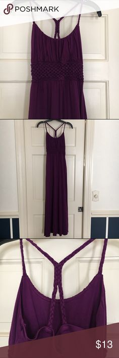 Banana Republic purple maxi dress Purple maxi dress with braided straps. Straps were too long, so I stitched them together to create a t-back style strap. Used condition. Banana Republic Dresses Maxi