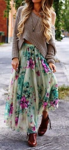 Top| Sweater| Off shoulder| Nude| Tan| Beige| Long sleeve| Crop| Belly| Skirt| High waisted| Green| Pink| Floral| Multicolored| Maxi| Floor length| Full length| Nail| White| Hat| Floppy| Sun| Ring| Gold| Multiple| Shoes| Heels| Booties| Boots| Ankle| Red| Dark| Leather| Close toed| Necklace| Fall| Autumn| P801