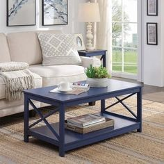 Shop Copper Grove Cranesbill X-base Coffee Table - Overstock - 17734507 - Cobalt Blue Blue Coffee Tables, Painted Coffee Tables, Decorating Coffee Tables, Furniture Deals, Home Furniture, Inside A House, Table Decor Living Room, Sofa End Tables, Decor Styles
