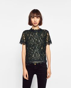 ZARA - WOMAN - EMBROIDERED LACE T-SHIRT