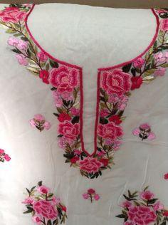 New Embroidery Stitches Machine Beautiful Ideas Embroidery Suits Punjabi, Zardosi Embroidery, Embroidery On Kurtis, Hand Embroidery Dress, Kurti Embroidery Design, Embroidery Neck Designs, Embroidery Fashion, Diy Embroidery, Embroidery Stitches