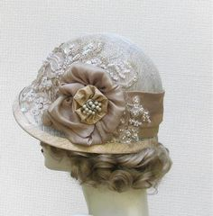 This could work -  Hat 1920's Edwardian Wedding Hat Vintage Style Cloche Bridal Custom Made Hats in Ivory