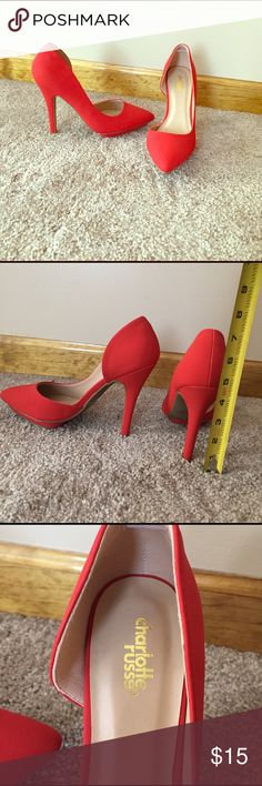 9725d1822e3aa9 Charlotte Russe Red Heels Very cute pumps with smooth velvet fabric! Never  worn-heels