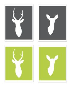 Deer Antlers Print Set Wall Art Home Decor Nursery Office Woodland Decor - Charcoal Dark Grey. $33.00, via Etsy.
