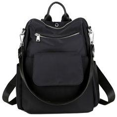 4ec853600e5b Women Backpack Purse Water Resistant Nylon Ladies Rucksack with Earphone  Hole Shoulder Bag - Black - C5185MNQI72