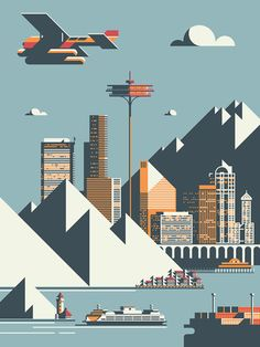 Seattle skyline by Rick Murphy / Flat design / Illustration / #poster #flat #illustration - 색감/레이아웃