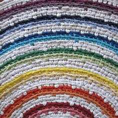 Large 7 Hue Rainbow Crocheted Rag Rug