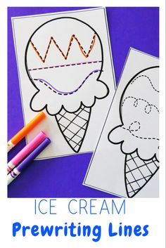 Ice Cream Preschool Theme-Prewriting Tracing Lines Summer Preschool Themes, Me Preschool Theme, Preschool Birthday, Summer Crafts For Toddlers, Daycare Themes, Preschool Lesson Plans, Preschool Crafts, Daycare Ideas, Literacy Activities