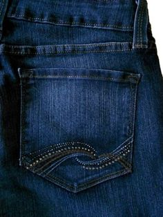 Not Your Daughters Jeans Marilyn Straight Leg Rhinestone Back Pockets in Indigo Wash