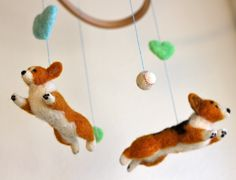 Baby Mobile with Flying Welsh Corgis (with 2 balls & hearts) from Fiber Friends. Corgi obsession!