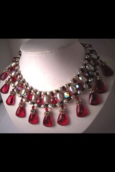 Vintage Cranberry and Pearl Beaded Necklace by Miriam Haskell
