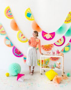 This fan garland might be my favorite thing we sell in the Oh Happy Day Party Shop. It stores flat and unfolds into a statement-making large garland. Plus it comes in really great colors. We decided t