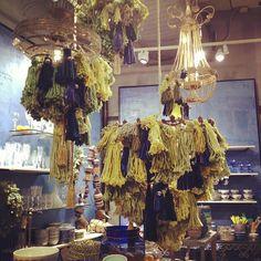 Photo by lionbrandyarn/tassel chandelier at anthropologie
