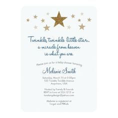 "Twinkle Twinkle Little Star Baby Shower Invitation 5"" X 7"" Invitation Card 