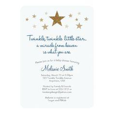 "Twinkle Twinkle Little Star Baby Shower Invitation 5"" X 7"" Invitation Card | Zazzle"