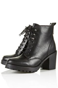 TOPSHOP - AMPLE Black Heavy Sole Boots