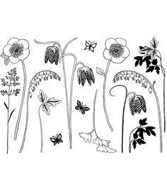 Crafty Individuals Unmounted Rubber Stamp -Build A Spring Flower Garden