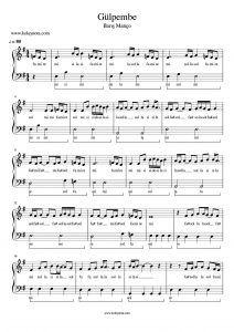 Gulpembe Kolay Piyano Notasi Piyano Nota Piyano Muzik Notalari Notalara Dokulmus Muzik