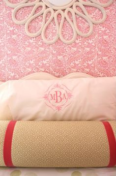Fabulous girls' room. Love the framed wallpaper headboards and spiffy duvet covers.