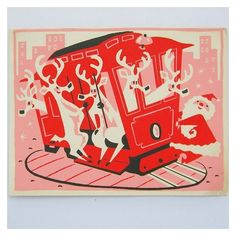 Vintage Christmas Card Santa Reindeer Trolley Pink, Red Hand Printed... ❤ liked on Polyvore featuring home, home decor, black and white home decor, pink home decor, red home accessories, vintage home accessories and vintage home decor