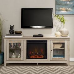 Walker Edison Traditional Fireplace TV Stand with Glass Doors for TV's up to 64 inch - White Oak