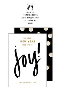 Black and gold New Years cards