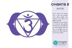 """CHAKRA 6 - AJNA Es el chakra del """"tercer ojo"""" y que nos permite """"ver"""" todo aquello que nuestros ojos físicos no llegan a percibir. El símbolo de este chakra es el loto de dos pétalos, como las alas a los lados de un círculo, dentro del cual hay un triángulo con su punta hacia abajo. Resuena con el color violeta. #Chakra #Ajna #Om #BienestarParaEstarMejor"""