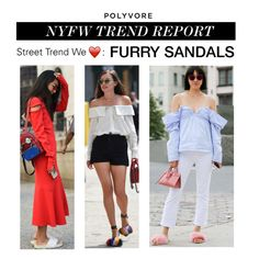 """""""NYFW Trend Report: Furry Sandals"""" by polyvore-editorial ❤ liked on Polyvore featuring NYFW, pvnyfw and furrysandals"""