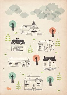 houses and clouds by stefaniamanzi on Etsy, €15.00