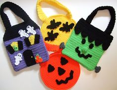 Ravelry: Crochet Pattern Halloween Trick or Treat Bags pattern by Donna Harelik.  $7.99 for pattern 6/14.