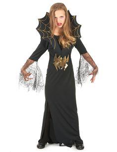 Dit Halloween heksen en spinnen kostuum voor meisjes zal ideaal geschikt zijn als Halloweenkostuum om een elegante heks te worden! - Nu verkrijgbaar op Vegaoo.nl