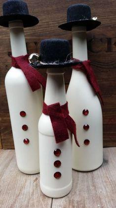 Snowman Family Wine Bottle Trio