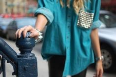 shirt blue shirt studs roll up sleeves button green shirt studded pocket baggy sloppy oversized loose casual sequined