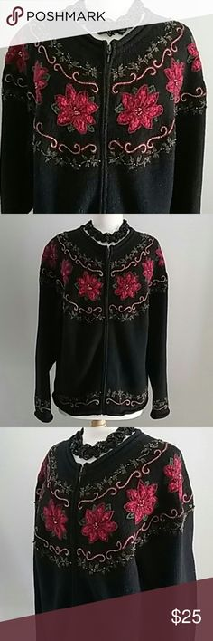 CROFT & BARROW HOLIDAY FLORAL SWEATER BLACK & RED CROFT & BARROW BLACK SWEATER ZIPPER JACKET WITH DETAILED RED HOLIDAY FLOWERS & DECOR. BLENDS OF RAMIE, ACRYLIC, NYLON, WOOL, POLYESTER, COTTON, & ANGORA RABBIT. SIZE XL. croft & barrow Jackets & Coats