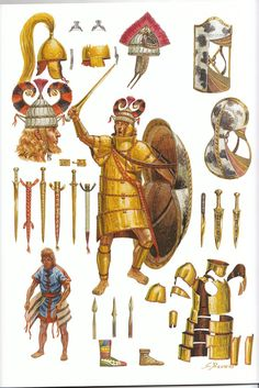 Giuseppe Rava's illustration of a late Bronze Age Mycenaean elite/noble warrior in full 'Dendra' style armour, circa 12th c. BC. (that guys face...)