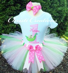 Baby Girl 1st Birthday Tutu Outfit  Sweet Pea  by ChristiCreations