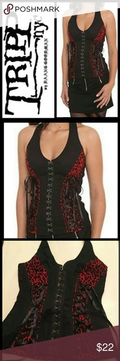 b01f3a990b Tripp NYC ROYAL BONES tripp nyc royal bones leopard red back corset halter  top Size Medium
