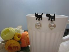Cat with Pearl Stud Earrings, Cat Silver Plated Earrings, Black Cat Earrings, Pearl Earrings, Post Earring, Gift for Her, Gift Box Included by Simplebeauty1405 on Etsy