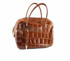 Vintage Leather Bag. Brown Handbag. Padlock by ChickClassique, $54.00