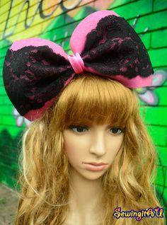 Hot pink oversized bow black lace bunny by SewingitAU on Etsy