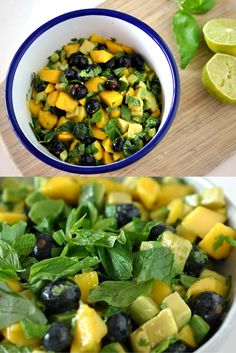 Mango Avocado Salad with Blueberries Lime Juice Herbs Raw Vegan Vegetarian Quick Easy Raw Vegan Recipes, Vegan Foods, Vegan Dishes, Vegan Vegetarian, Paleo, Healthy Recipes, Raw Vegan Dinners, Vegan Raw, Vegan Lunches